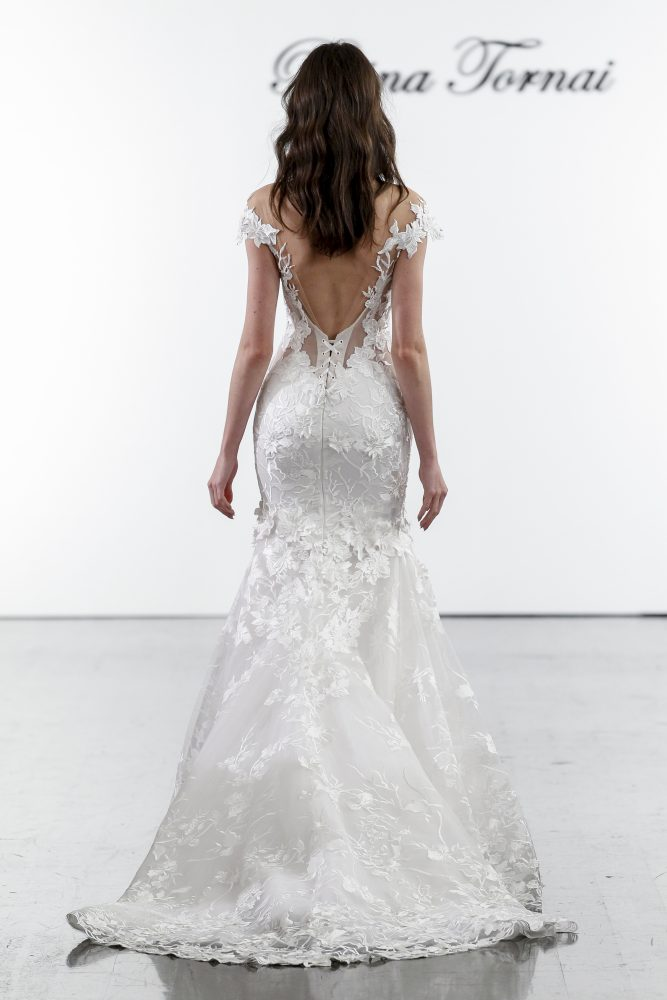 Floral Lace Off The Shoulder Mermaid Wedding Dress by Pnina Tornai - Image 2