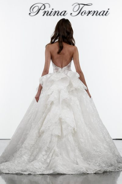 Floral Lace Sweetheart Ball Gown Wedding Dress by Pnina Tornai - Image 2