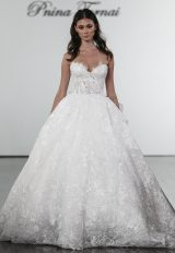 Floral Lace Sweetheart Ball Gown Wedding Dress by Pnina Tornai - Image 1