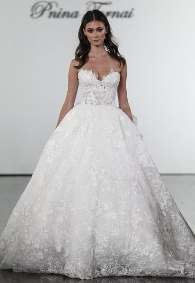 Floral Lace Sweetheart Ball Gown Wedding Dress by Pnina Tornai