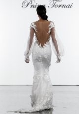 Illusion Long Sleeve V-neck Sheath Wedding Dress With Floral Appliques by Pnina Tornai - Image 2