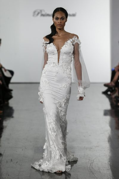 Illusion Long Sleeve V-neck Sheath Wedding Dress With Floral Appliques by Pnina Tornai - Image 1