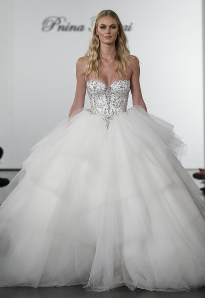 Layered Tulle Ball Gown Wedding Dress With Crystal Embellished Corset Bodice by Pnina Tornai