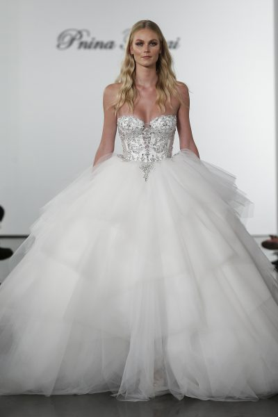 Layered Tulle Ball Gown Wedding Dress With Crystal Embellished Corset Bodice by Pnina Tornai - Image 1