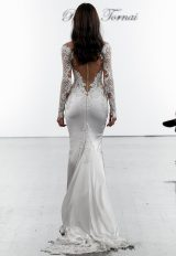 Long Sleeve Crepe Sheath Dress With Cutouts, Netting, And Embellished Details by Pnina Tornai - Image 2