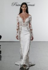 Long Sleeve Crepe Sheath Dress With Cutouts, Netting, And Embellished Details by Pnina Tornai - Image 1