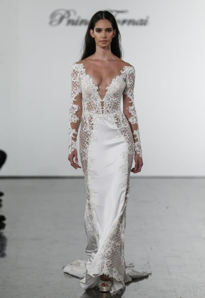 Long Sleeve Crepe Sheath Dress With Cutouts, Netting, And Embellished Details by Pnina Tornai