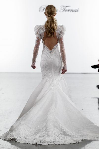 Long Sleeve Lace Mermaid Wedding Dress With High Neck by Pnina Tornai - Image 2