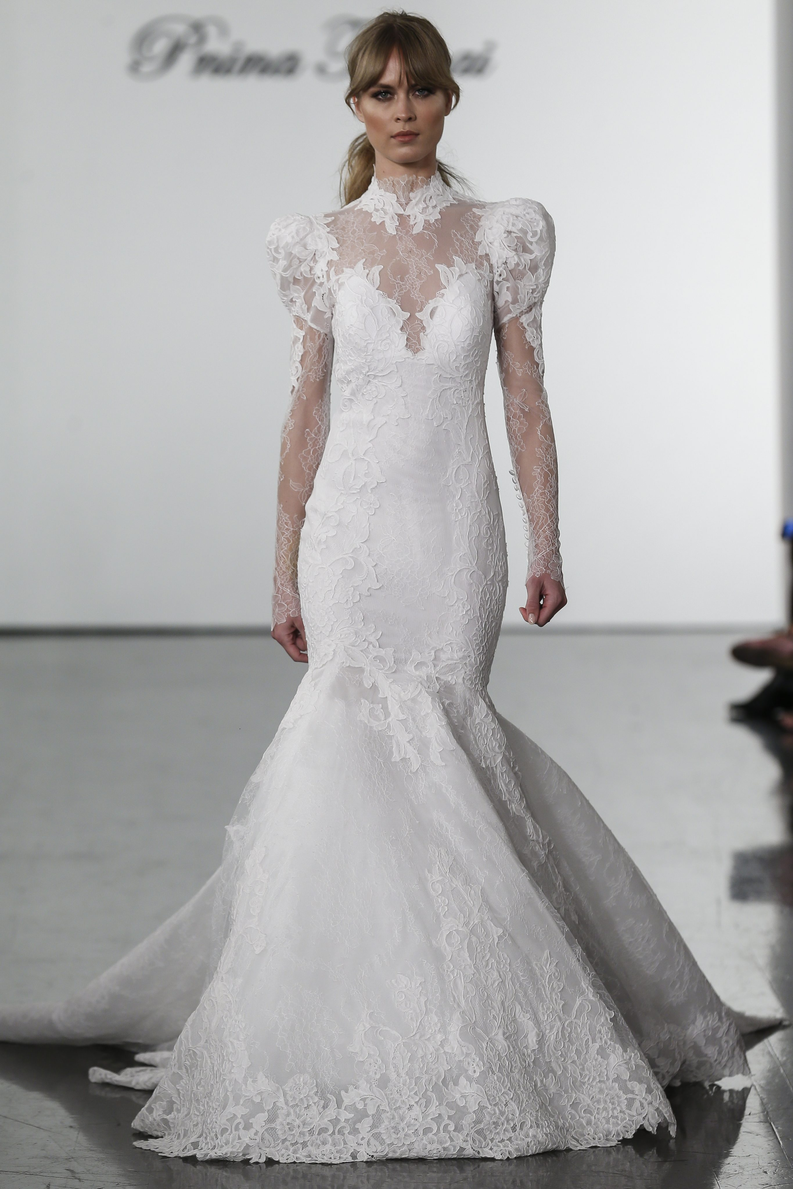Long Sleeve Lace Mermaid Wedding Dress With High Neck Kleinfeld Bridal