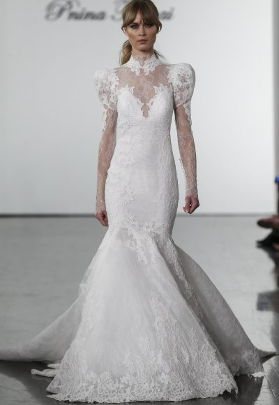 Long Sleeve Lace Mermaid Wedding Dress With High Neck by Pnina Tornai