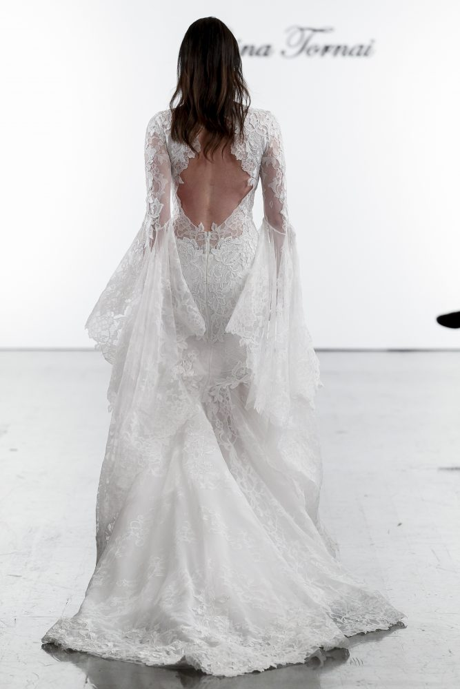 Long Sleeve V-neck Mermaid Wedding Dress With Bell Sleeves by Pnina Tornai - Image 2