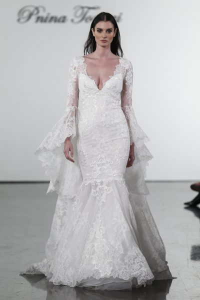Long Sleeve V-neck Mermaid Wedding Dress With Bell Sleeves by Pnina Tornai - Image 1