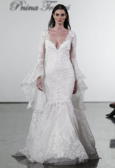 Long Sleeve V-neck Mermaid Wedding Dress With Bell Sleeves by Pnina Tornai