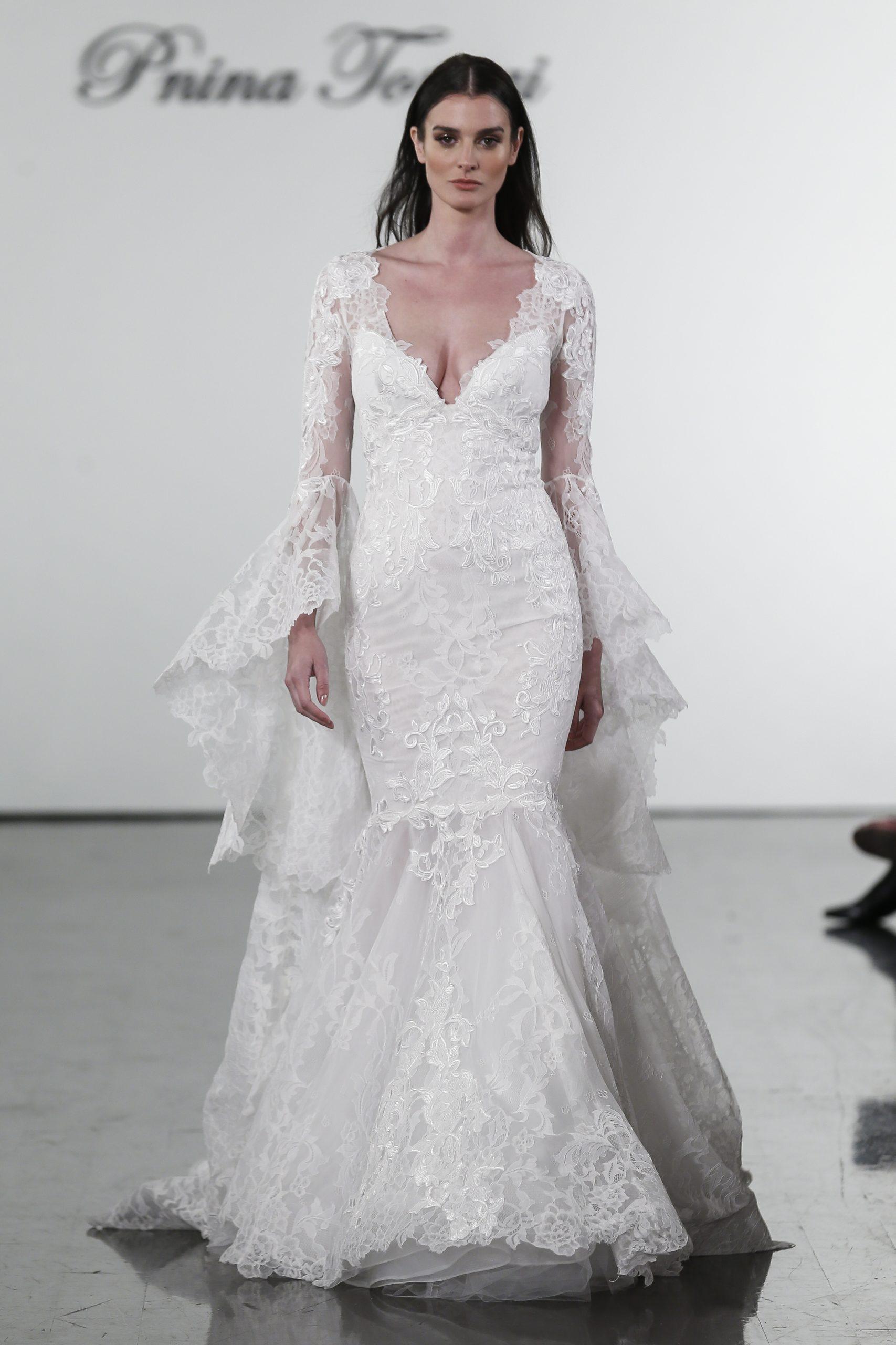 Long Sleeve V Neck Mermaid Wedding Dress With Bell Sleeves Kleinfeld Bridal,Wedding Dress Chicago Affordable