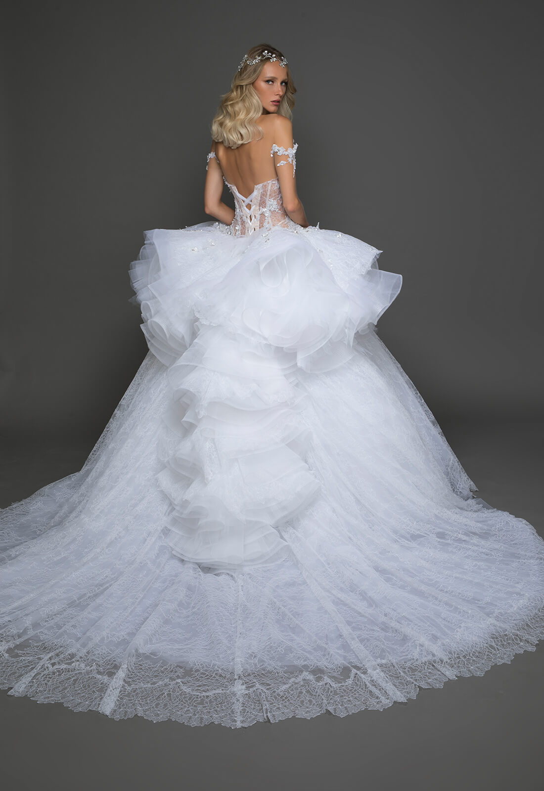 Off The Shoulder Plunging Neckline Beaded Lace Bodice Full Skirt ...