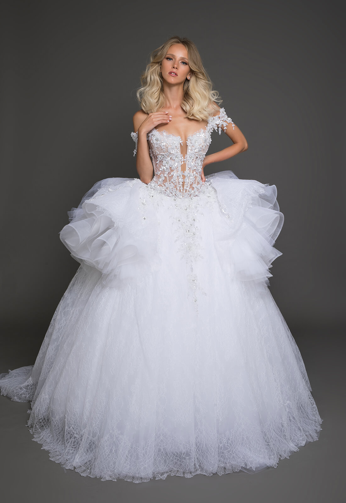 Pnina Tornai Ball Gown Wedding Dresses: Off The Shoulder Plunging Neckline Beaded Lace Bodice Full