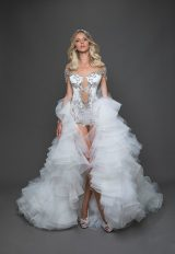 Off The Shoulder Sequin Leotard With Ruffle Over Skirt Wedding Dress by Pnina Tornai - Image 1