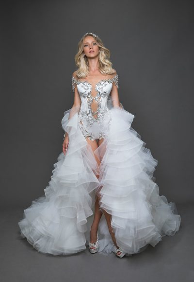 Off The Shoulder Sequin Leotard With Ruffle Over Skirt Wedding Dress by Pnina Tornai