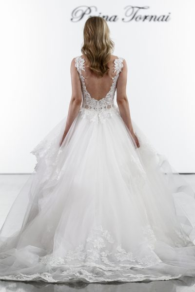 Plunging V-neckline Layered Tulle Skirt Ball Gown Wedding Dress by Pnina Tornai - Image 2