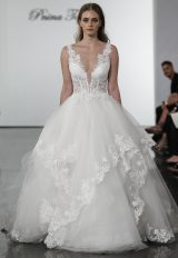 Plunging V-neckline Layered Tulle Skirt Ball Gown Wedding Dress by Pnina Tornai - Image 1