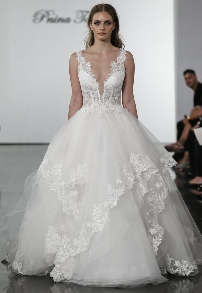 Plunging V-neckline Layered Tulle Skirt Ball Gown Wedding Dress by Pnina Tornai