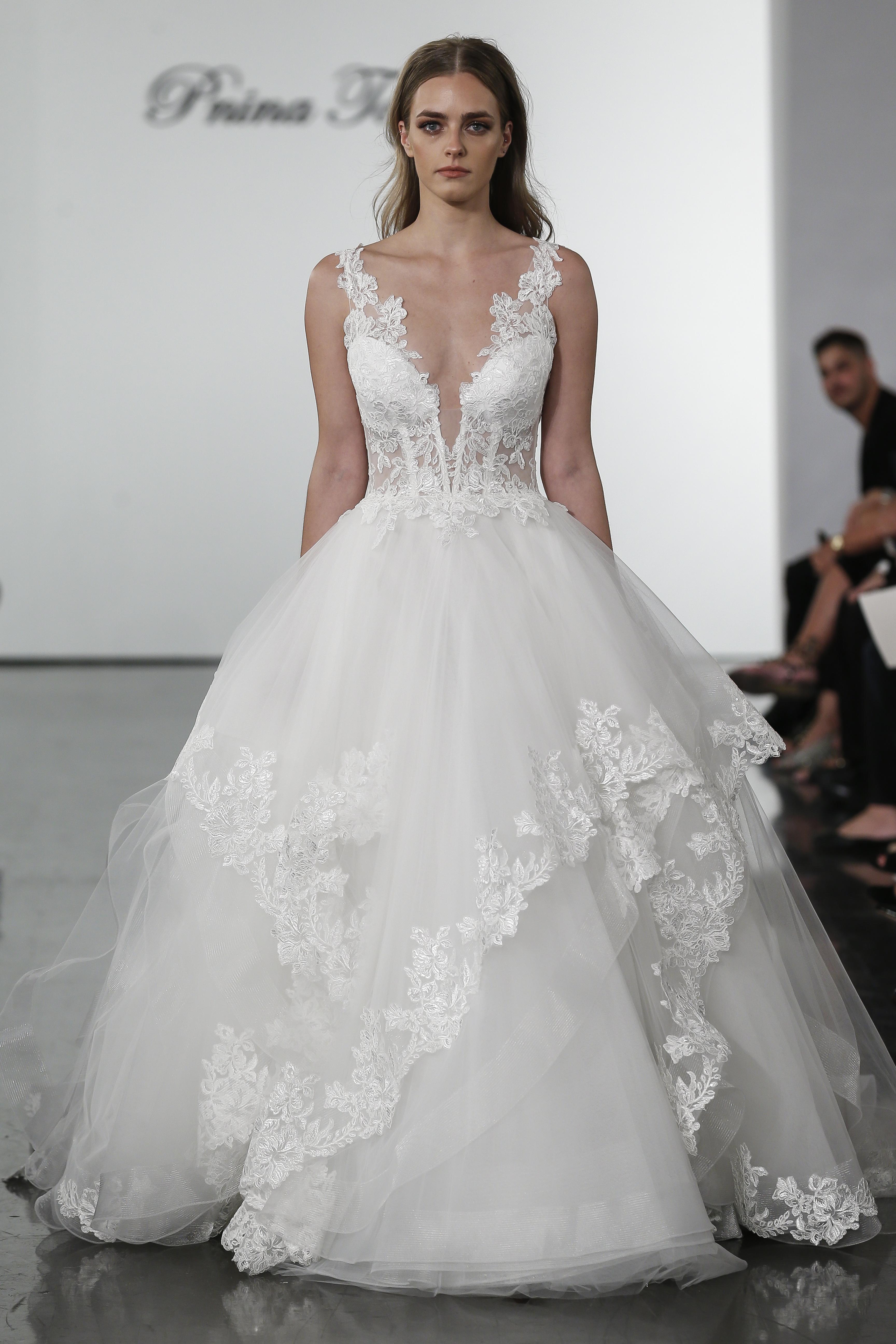 3ae62b2f Plunging V-neckline Layered Tulle Skirt Ball Gown Wedding Dress | Kleinfeld  Bridal
