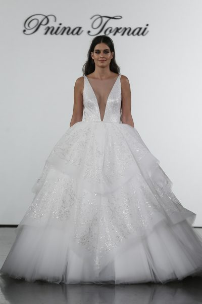 Sequin Layered Ball Gown Tulle Skirt  With Deep V-neckline by Pnina Tornai - Image 1