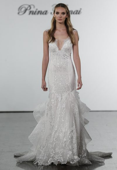 Sequin Mermaid Wedding Dress With Ruffled Skirt by Pnina Tornai
