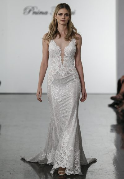 Sleevless Sequined Sheath Wedding Dress by Pnina Tornai
