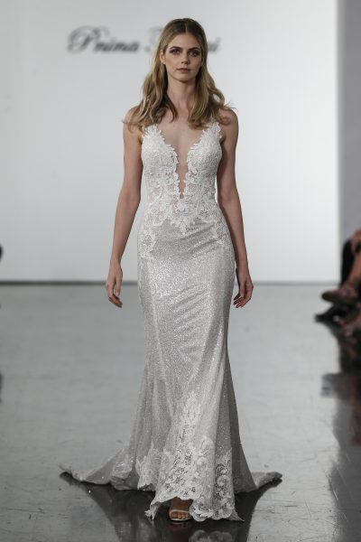 Sleeveless Sequined Sheath Wedding Dress by Pnina Tornai - Image 1