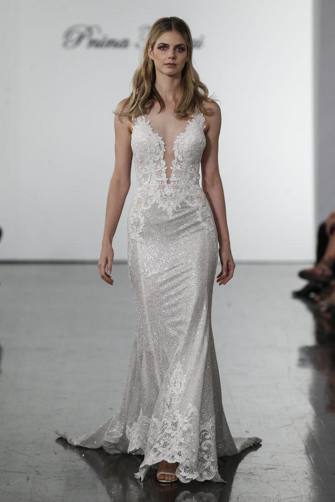 Sleeveless Sequined Sheath Wedding Dress by Pnina Tornai - Image 1