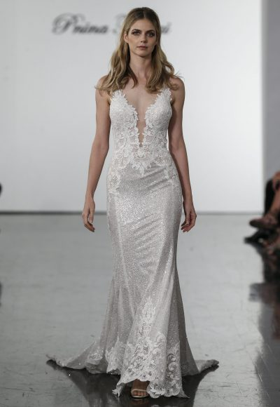 Sleeveless Sequined Sheath Wedding Dress by Pnina Tornai