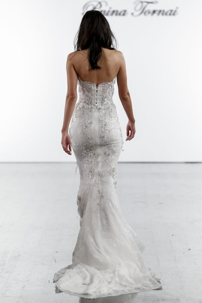 Sweetheart Lace Sheath With Embroidered Flowers by Pnina Tornai - Image 2