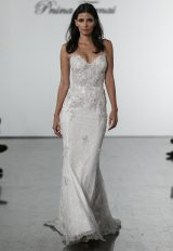 Sweetheart Lace Sheath With Embroidered Flowers by Pnina Tornai - Image 1