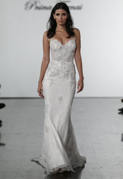 Sweetheart Lace Sheath With Embroidered Flowers By Pnina Tornai