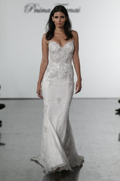 Sweetheart Lace Sheath With Embroidered Flowers By Pnina Tornai Image 1