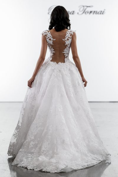 V-neck Fit And Flare Wedding Dress With Floral Appliques And Illusion Back by Pnina Tornai - Image 3