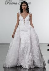 V-neck Fit And Flare Wedding Dress With Floral Appliques And Illusion Back by Pnina Tornai - Image 1
