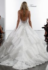 V-neck Lace Ball Gown Wedding Dress With Floral Appliqued Layered Skirt by Pnina Tornai - Image 2