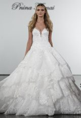 V-neck Lace Ball Gown Wedding Dress With Floral Appliqued Layered Skirt by Pnina Tornai - Image 1