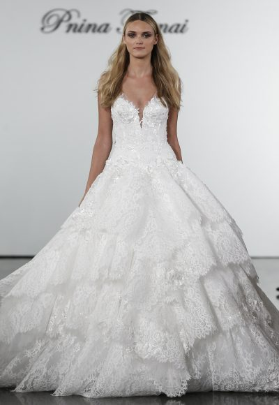 V-neck Lace Ball Gown Wedding Dress With Floral Appliqued Layered Skirt by Pnina Tornai