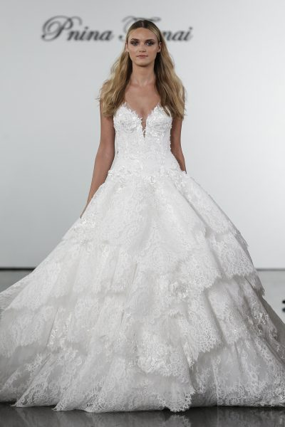 V Neck Lace Ball Gown Wedding Dress With Floral Appliqued Layered Skirt