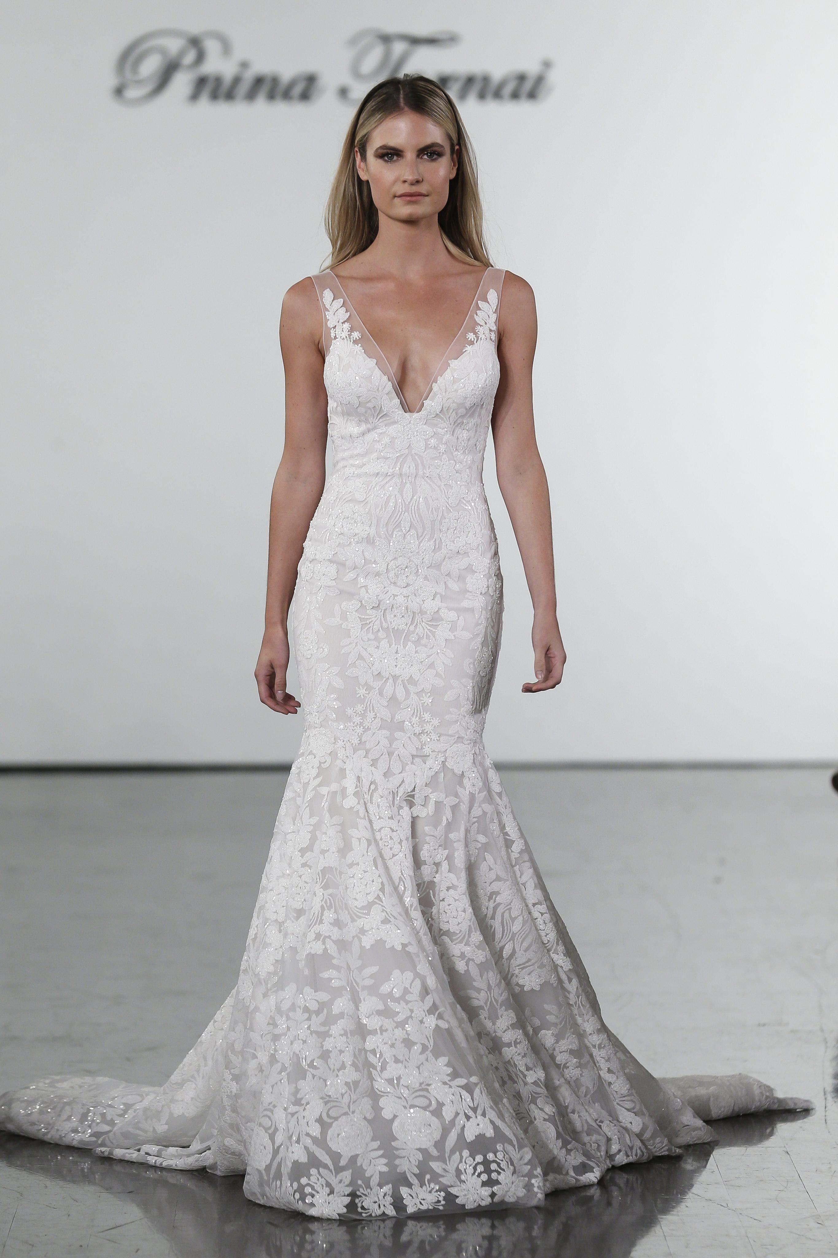 V Neck Sequined Mermaid Wedding Dress Kleinfeld Bridal