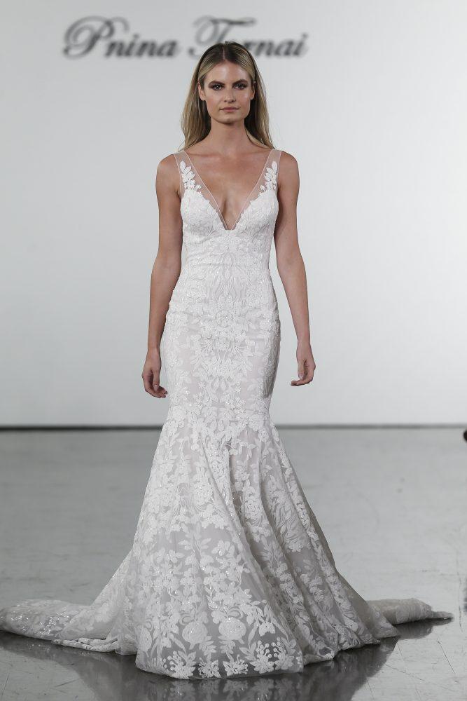 V-neck Sequined Mermaid Wedding Dress by Pnina Tornai - Image 1