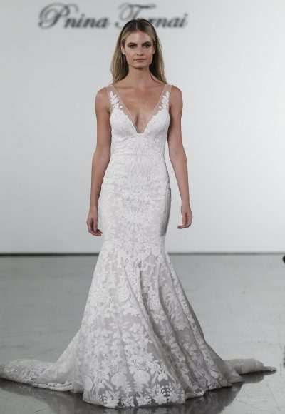 V-neck Sequined Mermaid Wedding Dress by Pnina Tornai