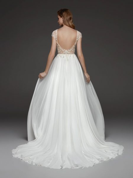 Beaded Cap Sleeve V-neck Bodice Flowy A-line Wedding Dress by Pronovias - Image 2
