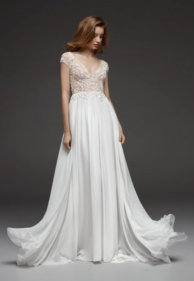 Beaded Cap Sleeve V-neck Bodice Flowy A-line Wedding Dress by Pronovias