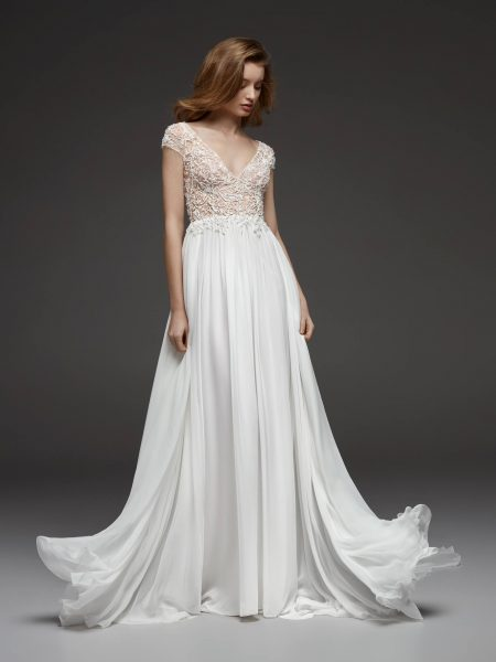 Pronovias Wedding Dress with Lace Cap Sleeves