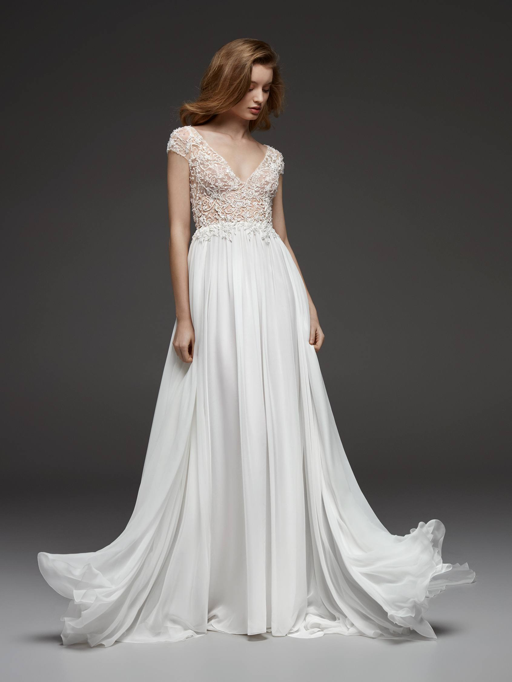 Beaded Cap Sleeve V Neck Bodice Flowy A Line Wedding Dress