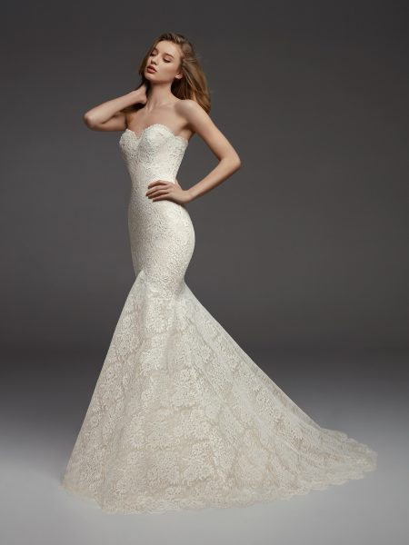 Full Lace Sweetheart Neckline Fit And Flare Strapless Wedding Dress by Pronovias - Image 1